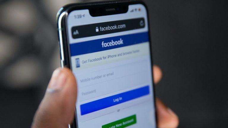 A facebook account on a phone
