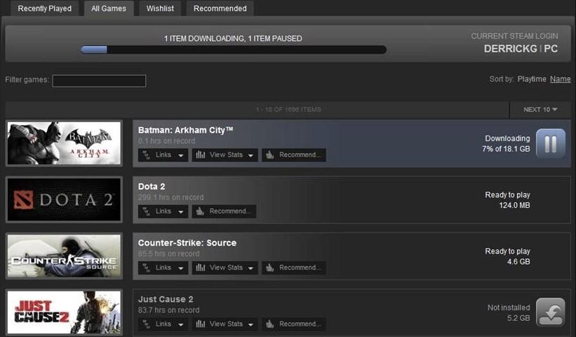 Steam downloads